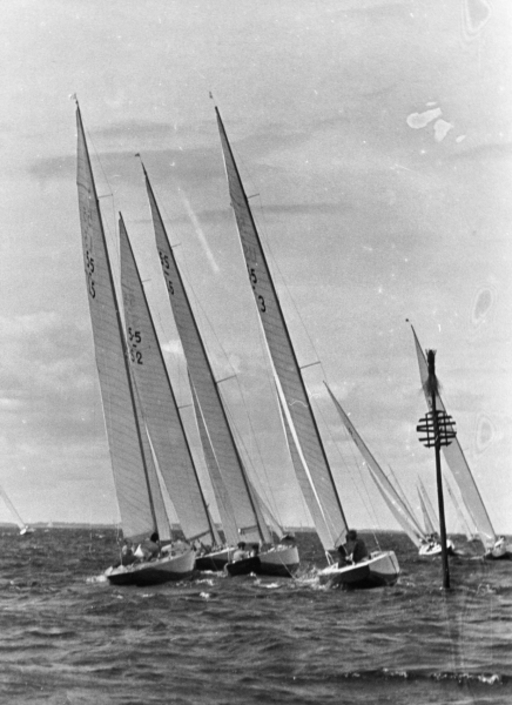 Sandhamn Regatta, Sweden, 1955, FIN-5 Nina on the left hand side