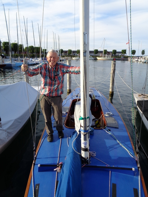 Göte Berg on his old boat Cirrus 2016 in Copenhagen
