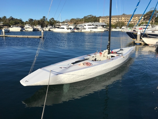 """5.5 AUS 60 """"Kur-ring-gai"""" - moored in her home harbour on Pittwater"""